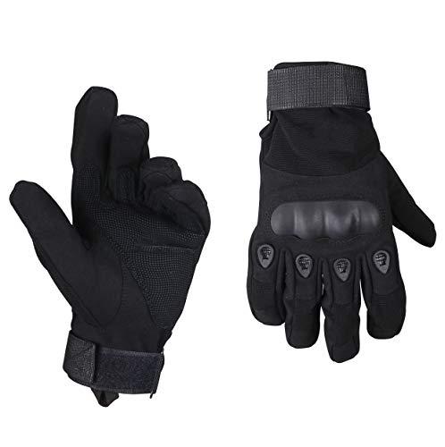 ThreeH Guantes llenos de Dedos Guantes Duros de nudillo Guantes de protección para Deportes al Aire Libre GL05XL,Black