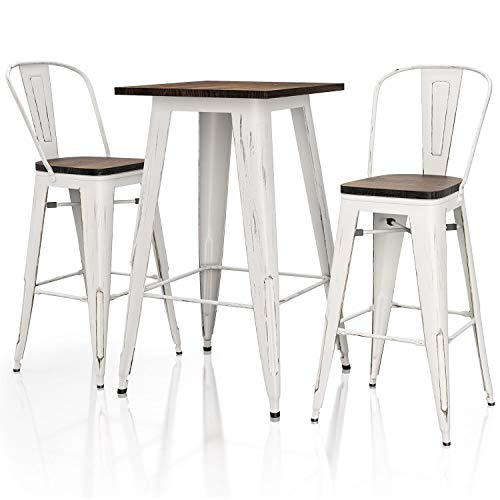 VIPEK Dining Set 4pcs 30 Inches Height Bar Chairs 1 pc 41.3' High Bar Table with Solid Elm Wooden Top High Back Bar Stool for Indoor Kitchen Restaurant Table Outdoor Patio Bistro, Distressed White
