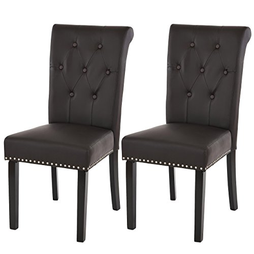 2 x silla de comedor Chester Field II, de la silla de butaca, remaches de~de piel sintética, diseño de café, colour marrón oscuro de las patas