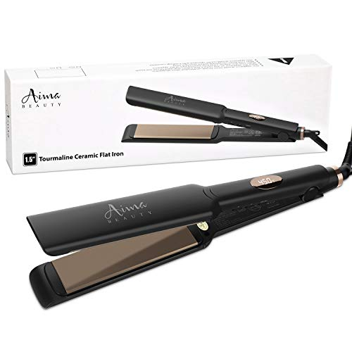 Aima Titanium Nano 1 1/2 Inch Flat Iron for Hair, Hair Straightener Iron with 3D Floating Ceramic Coating Plates and LCD Temp Display, Dual Voltage & Instant Heating