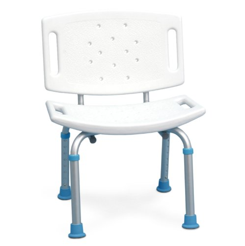 AquaSense Adjustable Bath and Shower Seat with Non-Slip Seat and Backrest, White