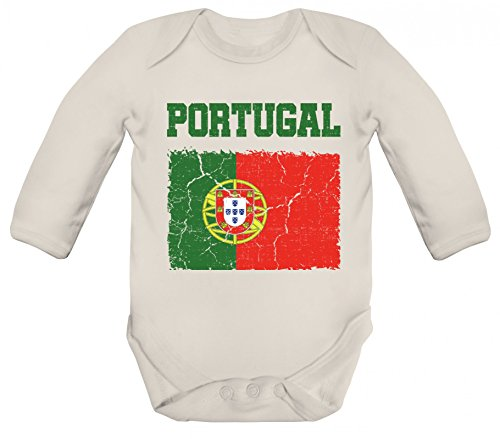 ShirtStreet Fußball WM Fanfest Gruppen Trikot Fan Strampler Bio Baby Body Bodysuit langarm Jungen Mädchen Wappen Portugal, Größe: 3-6 Monate,Organic Natural