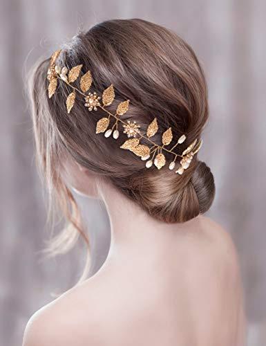 TOPQUEEN Accessoires braut Gold Perle Strass Braut Haarkamm Hochzeit Haarschmuck Tiara Diadem, Schmetterlinge (HP110)
