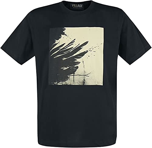 Resident Evil 8 - Village - Black Crows Hombre Camiseta Negro L, 100% algodón, Regular