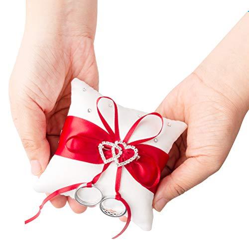 Ringkissen Hochzeit Hochzeitskissen Ehering Kissen mit Satinband Ring kissen Träger Vintage Ringhalter Hochzeit deko mit Doppelten Herzen 10cm*10cm