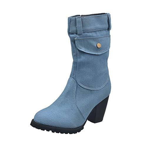 Stivali da Neve Donna Scarpe Stivaletti Invernali Outdoor Stile Grande Tacco Alto in Denim a Tubo Medio (37,Azzurro)