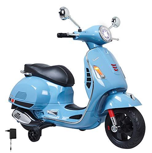 Jamara 460347 - Ride-on Vespa blauw 12 V - Krachtige aandrijfmotor en accu voor lange rittijd, SD-kaartsleuf, AUX- en USB-aansluiting, ultra-grip rubberen ring op de wiel, steunwielen, LED-koplamp
