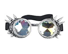 ZAIQUN Kaleidoscope Glasses Steampunk Goggles Rivet Steampunk Windproof Mirror Vintage Gothic Rave Rainbow Crystal Lenses Glasses #2