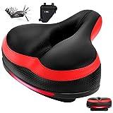 Zutesu Bike Seat, Most Comfortable Bicycle Seat Memory Foam Bike Saddle Cushion Comfort for Women Men Waterproof Bicycle Saddle with Reflective Strip-Shock Absorbing