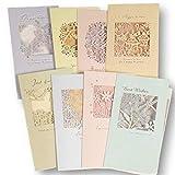 AZ DORADO メッセージ カード 封筒 8種セット バースデー グリーディング 切り絵 影絵 シルエット (Aタイプ)
