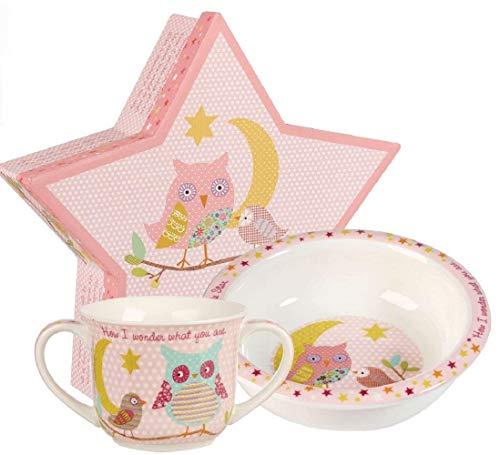 Queens Little Rhymes Twinkle Pink Porringer and Mug Set Caja de regalo de porcelana fina, multicolor, 16 x 16,5 x 8 cm