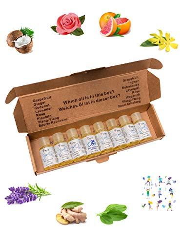 Verana Massageölsatz, Kokosnuss, Lavendel, Rose, Ingwer, Grapefruit, Ylang Ylang, Wegerich, Erholung, Naturkosmetk, Körperöl, Aromatherapie, 8 x 20 ml