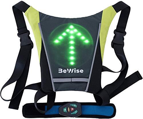 chaleco reflectante para ciclismo con luz led intermitente para indicar la maniobra de desplazamiento, Control desde un control remoto, Batería recargable, autonomía de 15h. Muy cómodo y ligero (280g)