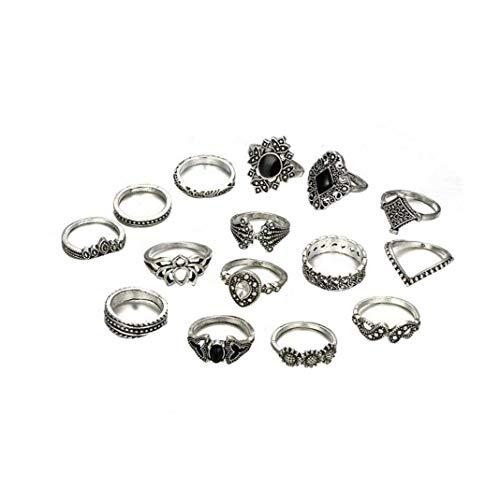 Vintage Corolla Water Diamond Ring Set Nail Ring Set for Women Stackable Rings Set Hollow 15 Pcs Women Beauty