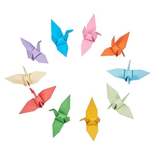 WANDIC Origami-Papier-Kraniche, handgefertigt, gefaltet, Origami-Papier, Girlande für Hochzeit, Party, Kulissen, Heimdekoration, gemischte Farben, 50 Stück