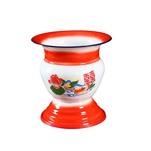 YJTT Multifuncional Esmalte Spittoon Estilo Antiguo 60S Cocina y decoración de Mesa Tazón de Esmalte, Fruta/Vegetal/Soporte de exhibición (Color : Rojo, Shape Style : Oval)