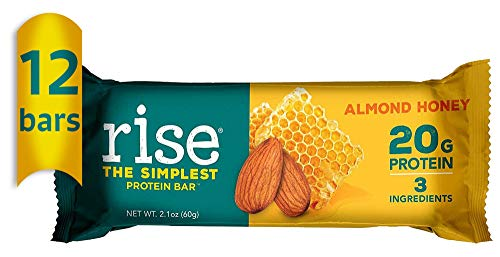 Rise Whey Protein Bar, Almond Honey, Healthy Breakfast & Snack Bar, 20g Protein 4g Dietary Fiber, 3 Natural Whole Food Ingredients, Simplest Non-GMO, Gluten Free, Soy Free Bar, 12 Pack