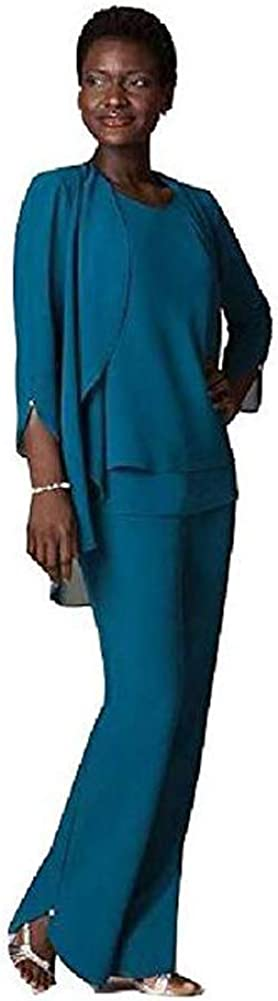 Women's Teal Three-Pieces Chiffon Mother of The Bride Dress Pants Suits Prom Gown US24W