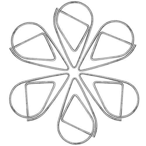 Feelairy 100pcs Büroklammer Silber Metall Wasser Tropfen Büroklammern Lesezeichen Retro Hohl Kleine Waterdrop Geformt Paper Clip für Buch, Memo, Papier, Poster, Foto