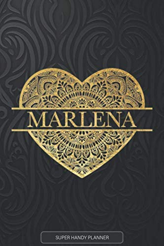 Marlena: Marlena Planner, Calendar, Notebook ,Journal, Gold Heart Design With The Name Marlena