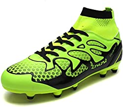 DREAM PAIRS Men's 160858-M L.Green Black Fashion Cleats Football Soccer Shoes Size 10 M US