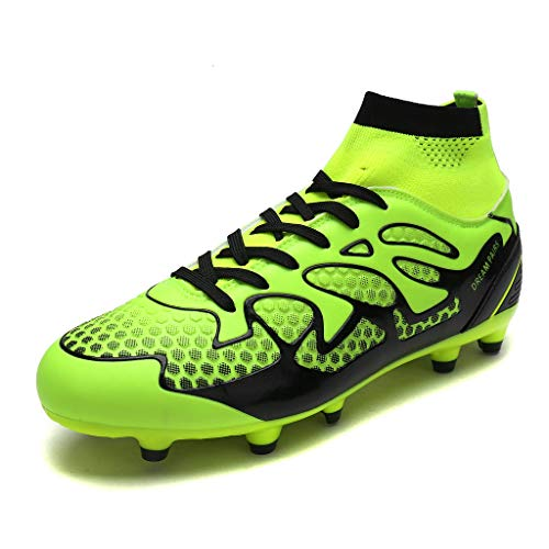 DREAM PAIRS Men's 160858-M L.Green Black Fashion Cleats Football Soccer Shoes Size 9 M US