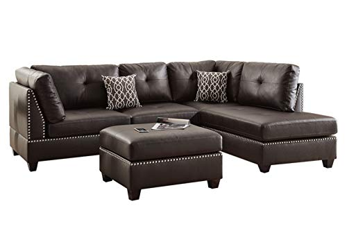 Poundex F6973 Bobkona Viola Faux Leather Sectional Set
