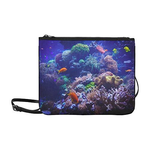 WYYWCY Unterwasser-Aquarium benutzerdefinierte hochwertige Nylon dünne Clutch-Tasche Umhängetasche Umhängetasche