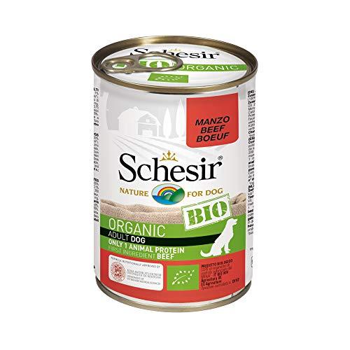 Schesir Dog Bio Monoprotein Rind, Hundefutter nass, 6 Dosen x 400 g
