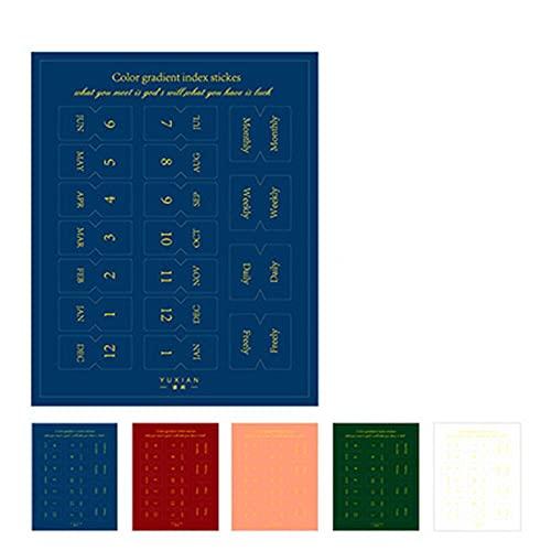 PMSMT 10 Hojas de Pegatinas de índice de Colores degradados Kawaii papelería planificador Diario Etiquetas Adhesivas DIY Scrapbooking Pegatina clasificar Marcas