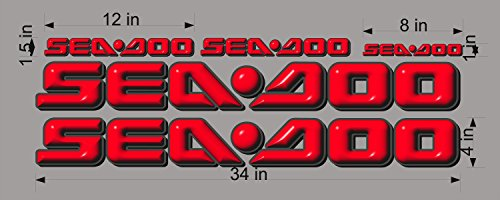 SEA-DOO-3D-RED-LOGO-4x34-DECAL-SET-GRAPHIC-STICKER-PACKAGE, REPLACEMENT