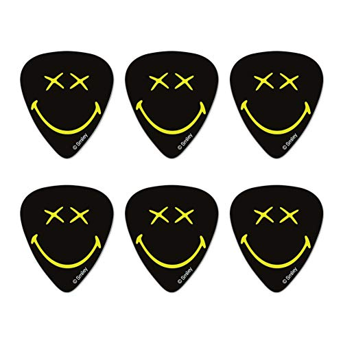 Smiley Smile Dead Happy Black Yellow Face Novelty Guitar Picks Medium Gauge - Set of 6