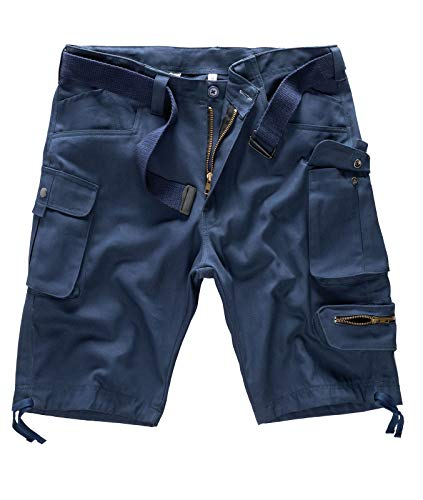 Rock Creek Herren Cargo Shorts mit Gürtel Short Kurze Hose Herrenshorts Cargoshorts Sommer Hose Bermuda Hosen Outdoorshorts H-171 Navy W42