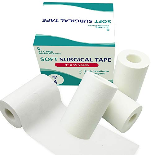 "[Pack of 4] Soft Surgical Tape 4"" x 10 Yards, Cloth Medical Tape, Latex-Free Cloth Surgical Tape, Gauze Tape for First Aid Supplies, Wound Dressing Tape"