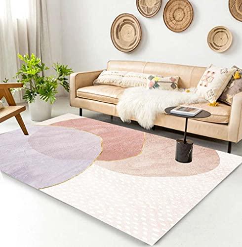 CCTYJ Blanco Purple Pink Combination Abstract Modern Creative Hotel Hotel Calidad Durable y de fácil Cuidado de la Alfombra decorativa-100x200cm Estar Alfombra para Decoración Interior Diseño para Sa