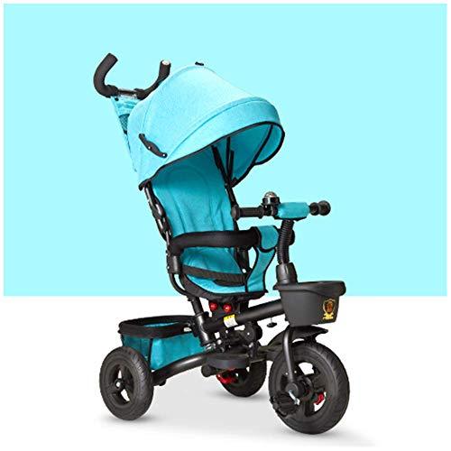 Kinderdreirad, Kinder Trikes MäDchen 4 In 1 Pedal Dreirad Kinder Kinder Intelligentes Design Erste Trike Roller Hell Und Farbenfroh- Alter 1-3-5, Blue