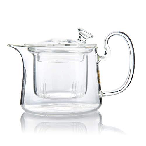 Moderna y elegante tetera de vidrio borosilicato resistente al calor con infusor de vidrio extraíble - 350 ml / 11.83 oz
