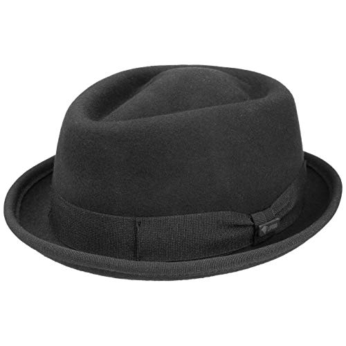 Lipodo Gratus Pork Pie Filzhut Damen/Herren - Hut aus Wollfilz - Made in Italy - Fedora Sommer/Winter - Porkpie mit Ripsband - Wollhut schwarz M (56-57 cm)