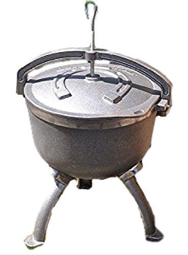 123home24.com Gusseisenkessel mit Deckel und Füßen - Gulaschkessel Kessel AUS GUSSEISEN - KOCHKESSEL- OFFENE FEUERSTELLE - 7,5 Liter - Massive Halterung - Gewicht 11 kg