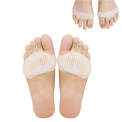 Metatarsal Pads,Forefoot Pads for Heels Breathable Ball of Foot Cushions 8 Pcs Ventilated Gel Pads Mortons Neuroma Pads Foot Pain Relief Men and Women (8)