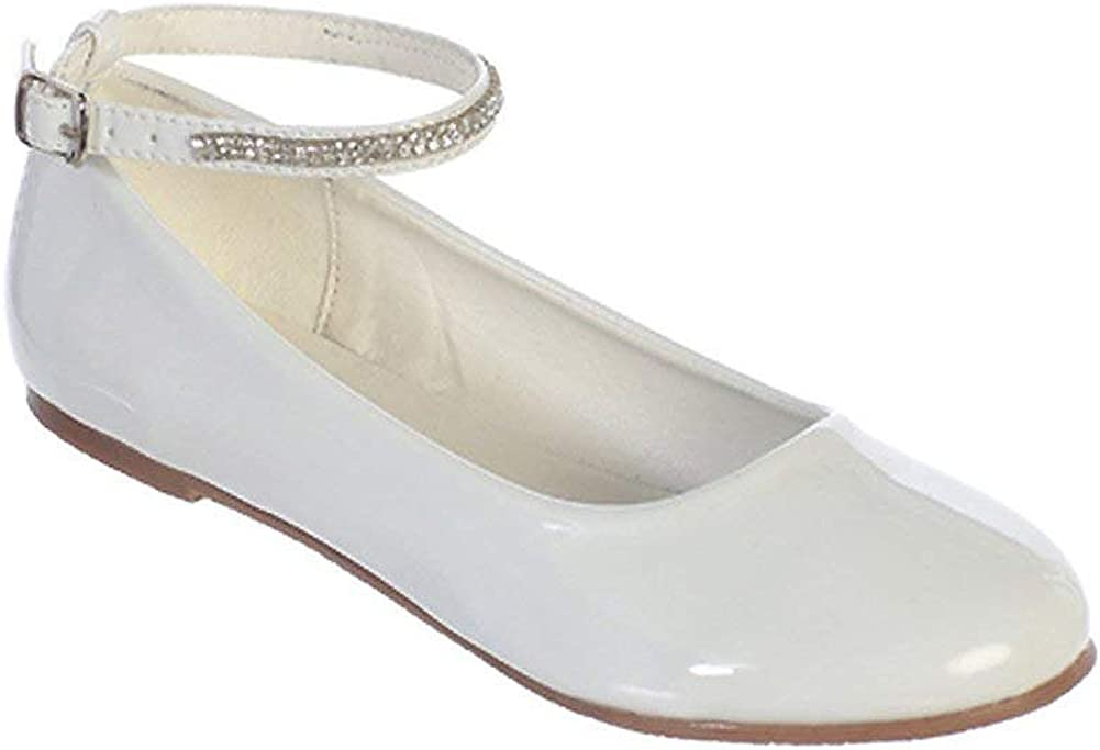 iGirlDress Girls Patent Rhinestone Ankle Strap Flats Dress Shoes Size 9- Size 5 Youth