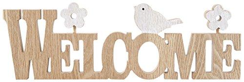 HEITMANN DECO Schriftzug Welcome aus Holz mit Vögelchen und Blumen -Tischdeko, Wanddeko Eingang - Frühling, Ostern
