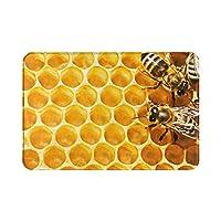 ミツバチと蜂蜜 honey カーペット エントランス マット 多機能 滑り止め付 速乾 屋内屋外ドアマット 供の寝室の家の装飾屋 モダン リビングルーム キッチン寝室 バスルームフットマット