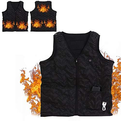 EMEBAY – Pompa di calore a 5 zone base/batteria e USB – cavo incluso/giacca gilet gilet termico/cuscino riscaldante/taglia regolabile/gilet caldo impermeabile freddo – nero