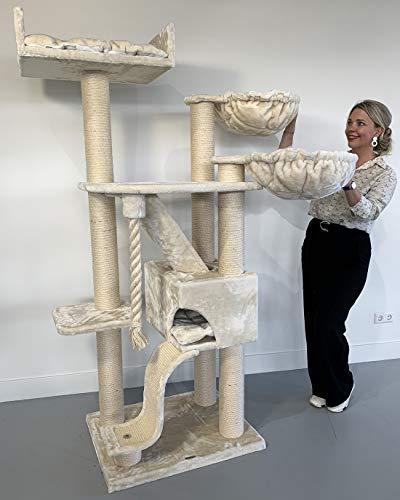 RHRQuality Kratzbaum Grosse Katzen stabil XXL Kilimandjaro Plus Beige Katzenkratzbaum für schwere Katze hoch 50KG