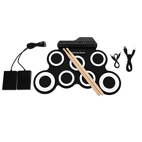 VBESTLIFE Juego de batería electrónica, Tambor portátil Enrollable con Pedales de Cable USB Stick para…