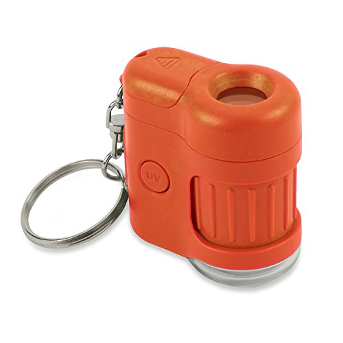 Carson MicroMini 20x LED Lighted Pocket Microscope with Built-In UV and LED Flashlight - Orange