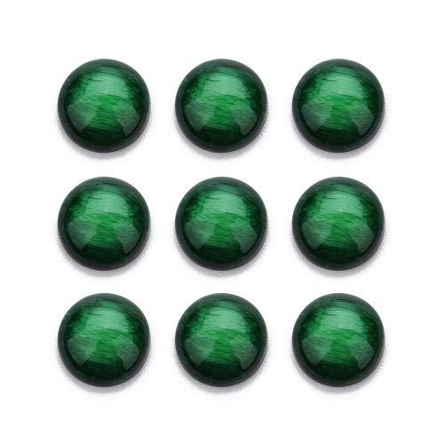 YUXIN Zhaochen 30 unids Piedra Natural Espalda Plana Resina cabujón Cuentas Redondas 12 mm Púrpura Beads Brown para Las Pulseras de cabujón (Color : Green)