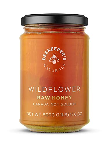 BEEKEEPERS NATURALS Wildflower Honey - Raw, Wildcrafted, and Unprocessed- Rich in Nutrients and Beneficial Enzymes- Notes of Mint & Lavender-100% Raw, Pure Honey- Paleo-friendly, Gluten-Free (1.1lbs)