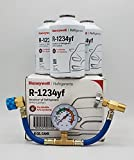 Honey Well Genuine 8oz R1234YF Refrigerant (3 Freon Cans) & HD Brass Can Tap with Gauge